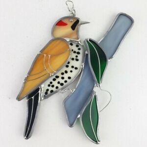 Bird on Branch Stained Glass Hanging Decor