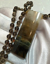 Chatoyant Tiger Eye Pendant Smokey Quarts BEADs Necklace 14K gold gf Elegant
