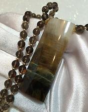 Chatoyant Tiger Eye Pendant Smokey Quarts BEADs Necklace 14K gold gf Elegant