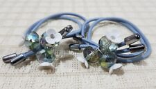 ELASTIC PONYTAIL HOLDER WITH CRYSTALS AND FLOWER CHARM HAIR ACCESSORY BLUE GRAY