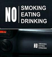 2 x Warning Sticker No Smoking Eating Drinking Car Vehicle Taxi Window Sign +