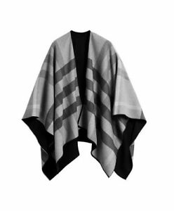 BURBERRY Charlotte Reversible Solid Check Wool Cape Poncho Merino In Charcoal