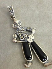 Clown w/ Violin Sterling Silver 925 Vintage Charm Pendant Marcasite & Onyx New