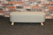 Fjord & Co Amabel Footstool in a Plain, Natural Fabric, Removable Cover (486)