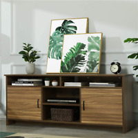 Modern TV Stand Console Table TV Cabinet w/ Two Doors & Storage Shelves Brown US