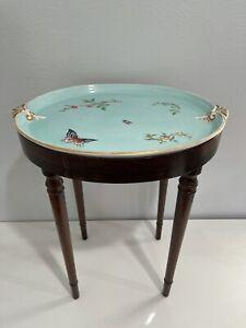 Antique Porcelain Drinks Table Tray / Platter w/ A Custom Wood Base