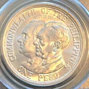 1936 PCGS MS 64 Philippines Roosevelt Quezon 1 Peso Silver Coin