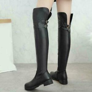 Lady Womens Fashion Zipper Over The Knee High Riding Boots Buckle Thigh Boots