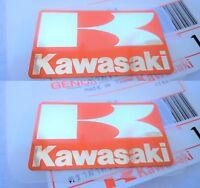KAWASAKI GENUINE STICKERS BADGE DECALS ORANGE /SILVER x 2 *** UK STOCK ***