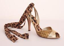 ROBERTO CAVALLI Leather Animal Print High Heel Slide Lace-Up Pump Shoe 10-40