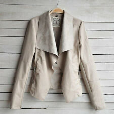 Womens PU Leather Jacket Slim Biker Motorcycle Coat Lapel Outwear Tops Oversized