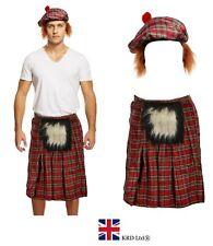 Mens SCOTTISH COSTUME Scotsman KILT + TARTAN HAT Hair Burns Night Fancy Dress UK
