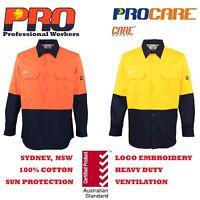 1 pack Hi Vis Work Shirt vented cotton drill long sleeve Safety WORKWEAR Uniform