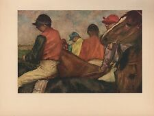 "1951 Vintage DEGAS ""JOCKEYS"" HORSE RACING HORSES COLOR Art Print Lithograph"