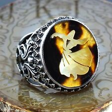 Sterling Silver Mens Ring Antique Ottoman Handmade Pearl Inlaid Whirling Dervish