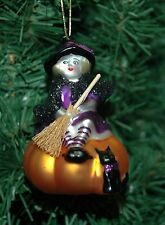 Blown Glass Halloween Witch On A Pumpkin Ornament