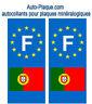 Autocollant plaque immatriculation auto PORTUGAL drapeau pays