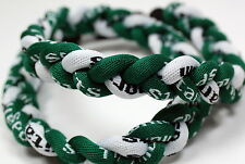 "Lot of 15 - 20"" Green White Titanium Sport Tornado Twist Baseball Necklaces"