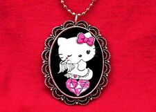 HELLO ANGEL KITTY HEART WINGS DIAMOND PENDANT NECKLACE