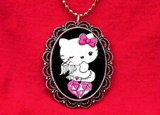 HELLO ANGEL KITTY HEART WINGS DIAMOND PENDANT NECKLACE
