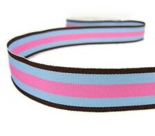 """5 Yds Brown Blue and Pink Striped Grosgrain Ribbon 7/8""""W"""