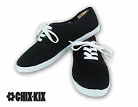 Womens Black Canvas Shoes Lace Up Casual Sneakers Kicks Footwear Tennis Flats
