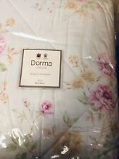 DORMA - ALICE - KINGSIZE - QUILTED THROW - FLORAL ON WHITE - NEW WITH TAGS