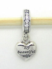 Authentic Pandora Charm My Beautiful Wife Pendant 791524CZ Dangle Bead