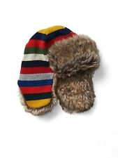 GAP Kids Boys Size S / M Rainbow Crazy Stripe Faux Fur / Wool Blend Trapper Hat