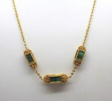 Solid 22k Yellow Gold Ring Necklace and Earring Set Beautiful Malachite Cube Gem