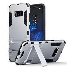 Samsung Galaxy S8 resistente armadura de varias capas de grado militar Cyber caso plata