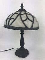 "Antique Desk Lamp Slag Glass 1 Piece Slumped Shade Art Nuevo 14"" H"