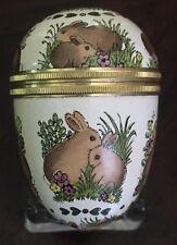 Halcyon Days Enamel Box - Easter - Vintage Bunny Egg - Rabbits & Flowers - Mib