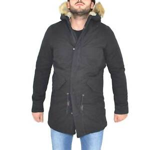 New parka brand acy uomo tessuto nero pelliccia ecologica zip
