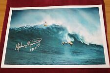 Micky Munoz 1957 AUTOGRAPHED Hawaii Longboard Pig 12x18in. Vtg. Surfing Poster