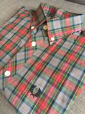 Fred Perry Tartan Red Checked Shirt Small L/S Mod Skins Ska 60s Casuals Ivy