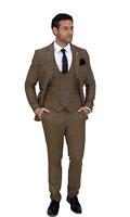 Mens 3 Piece Suit Cavani Tweed Peaky Blinders Tan Brown Vintage Slim Fit Wedding