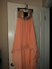 V585 TERANI  P3143 Peach NUDE SZ 2 $405 HI LO FORMAL PROM PAGEANT GOWN DRESS