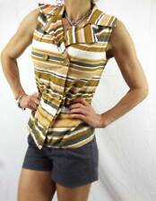 VINTAGE 60s mod STRIPE JACKET 8 10 GIDGET top DOUBLE BREASTED button camel white