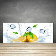 Crédence de cuisine en verre Panneau 125x50 Cuisine Citron Vert Lime Cubes Glace