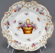 Helena Wolfsohn Dresden Hand Painted Floral Basket & Gold Reticulated Plate A