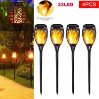 4pcs Solar Power 33LED Torch Light Flickering Flame Garden Waterproof Yard Lamp