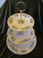 VINTAGE ROYAL GRAFTON CHINA ENGLAND PLATED 3 TIER CAKE STAND 'BLUE ROSEBUD'