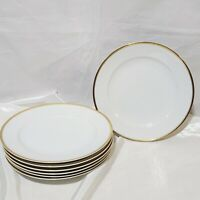"Meito China Hand Painted set of 7 Dinner Plates 10"" White And Gold Trim Japan"