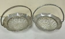 Set of 2 Hammered aluminum baskets with glass thumbprint bowls Farber & Shlevin