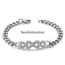 Women's Stainless Steel Cuban Link Chain Charm Infinity Knot Love Heart Bracelet