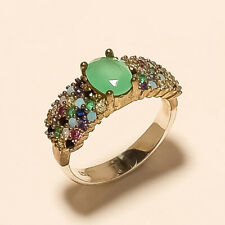 Sterling Silver Women Easter Jewelry Queensland Chrysoprase Solitaire Ring 925