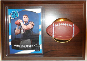 MITCH TRUBISKY 5 x 7 PLAQUE WITH '17 PANINI RATED ROOKIE #328 BEARS & N C STATE