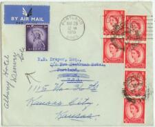 1955 London England cover to Oregon forwarded with added Us stamp