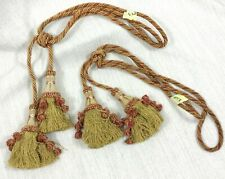 Antique Silk Tassel Curtain Tiebacks French Chateau Passementerie Red Gold PAIR